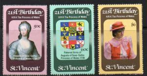ST.VINCENT SG694/6 1982 21st BIRTHDAY OF PRINCESS DIANA MNH
