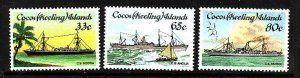Cocos (Keeling) Is.-Sc#129-31-unused NH set-Cable-laying Ships-1985-