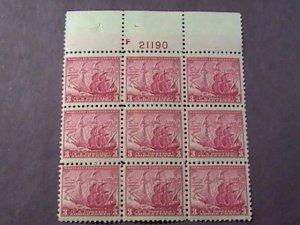 U.S.# 736-MINT/HINGED----PLATE # BLOCK 6--MARYLAND TERCENTENARY---1934