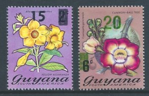 Guyana #563b,64a NH Flora Defins. Surcharged in Black & G...