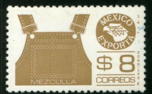 MEXICO Exporta 1123, $8P Overalls Perf 11 1/2 Flu Paper 7 MINT, NH. VF.
