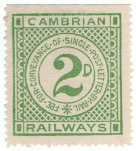 (I.B) Cambrian Railways : Letter Stamp 2d