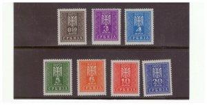 GERMAN OCCUPATION SERBIA SC.2NJ16-22 POSTAGE DUE SET MH PBPG9