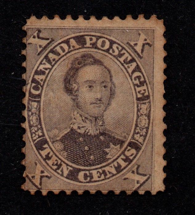 $Canada Sc#17a used, fine+, violet w/part gum, Cv. $1050