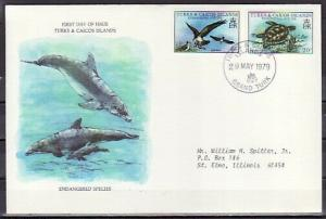 Turks & Caicos, Scott cat. 380-381 only. Bird & Turtle values. First Day Cover.