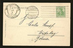 Germany 54 on PM Stuttgart 1904 Postcard Used