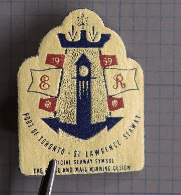 Port of Toronto St Lawrence Seaway Official Symbol 1959 anchor gold foil stamp