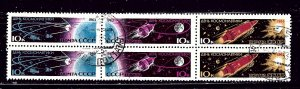 Russia 2732 CTO 1963 Space block of 6
