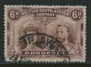 Rhodesia 1910 6d Double Heads used