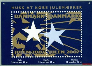 Denmark. Christmas Seal. 2007. 1 Post Office,Display,Advertising Sign. Stars