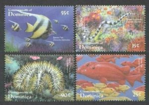 2001 Dominica 3093-3096 Marine fauna