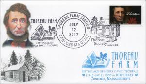 17-374, 2017, Thoreau Farm,Concord MA, Henry Thoreau, Pictorial, Event Cover,