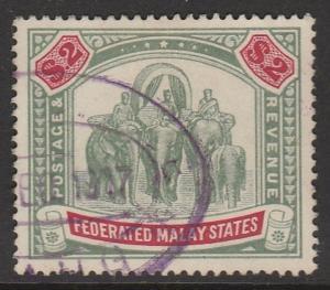 MALAYA 1907 FMS Elephants & Howdah $2 Used wmk MCCA SG #49 M1197
