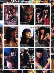 Tajikistan 2000 XENA WARRIOR PRINCESS American TV Sheet Perforated Mint (NH)