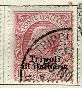 ITALY TRIPOLI; 1910 early Emmanuel issue fine used 10c. value