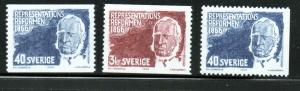 Sweden Sc 701-3 1966 Baron de Geer stamp set mint NH