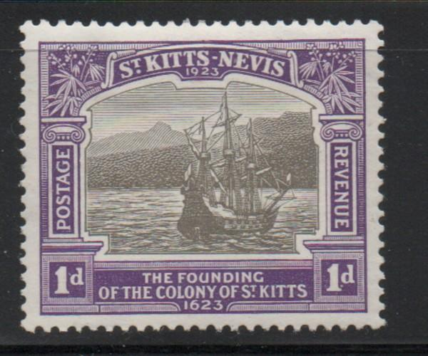 St Kitts Nevis Sc 53 1923 1d ship 300th Anniversary stamp mint