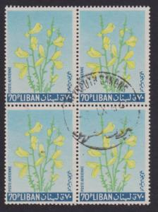 Lebanon Airmail # C397 Yellow Broom Flower F-VF used Block of 4   I Combine S/H