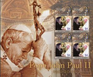 Tuvalu #910 Pope John Paul II & Queen Elizabeth II MNH Sheet of 4