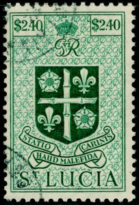 ST. LUCIA SG158, $2.40 blue-green, FINE USED. Cat £19.