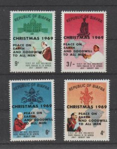 Biafra 1969 Pope Paul II Visit to Africa #27-30 with Christmas Overprint Set MNH