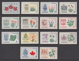 Canada Sc 417-429A MNH. 1964-66 Flowers and Arms of the Provinces, cplt set, VF