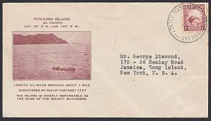 PITCAIRN 1936 NZ POSTAL AGENCY cds on NZ 1d Kiwi on cover..................87633