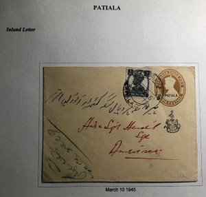 1945 Patiala India Postal Stationary Cover To Amritsar