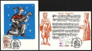 Andorra, Sp. Scott cat. 167-168. Europa-Music Year issue. Max. Cards. ^