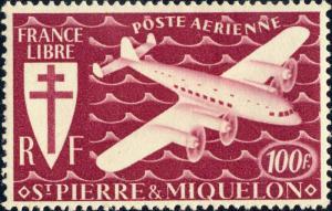 SAINT-PIERRE-&-MIQUELON - 1942 - Yv.PA10 / Mi.323 100fr lie-de-vin - Mint*