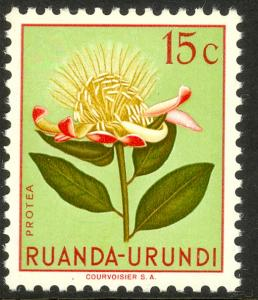 RUANDA-URUNDI 1953 15c FLOWERS Issue Sc 115 MVLH