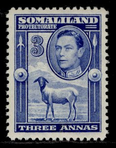 SOMALILAND PROTECTORATE GVI SG96, 3a bright blue, LH MINT. Cat £18.