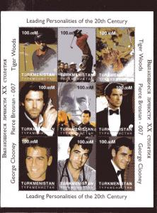 Tiger Woods/George Clooney/Bond 007 Shlt (9)mnh Turkmenistan
