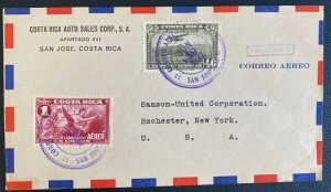 1937 San Jose Costa Rica Auto Sales Airmail Cover To Rochester NY Usa