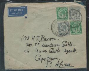 KENYA AND UGANDA (P2609B) 1932 KGV 5CX2+50X2 KAMPALA TO SOUTH AFRICA