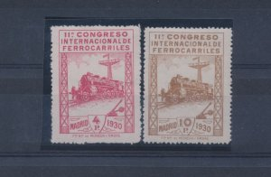 1930 Spain - 440/441- 11° Congress Intern. Ferrocarriles, Trains, 4p. Red