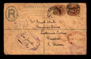 1901 South Africa Registered Censor Boer War Cover / Light Fold - L10079