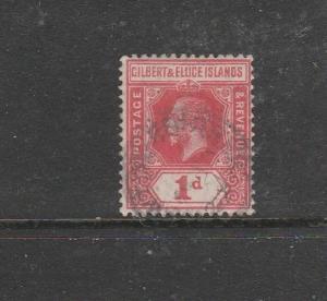 Gilbert & Ellice islands 1912/24 Crown CA 1d Used SG 13/a