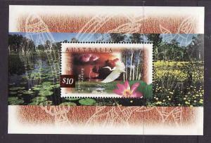 Australia-Sc#1535a-unused NH sheet-Flowers-Birds-Great Egret