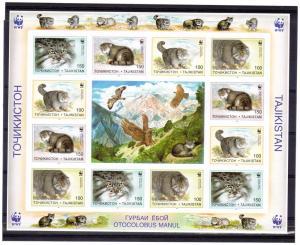 Tajikistan WWF Pallas Cats Shlt 12v+L. IMPERF Sc # 92-95 MNH
