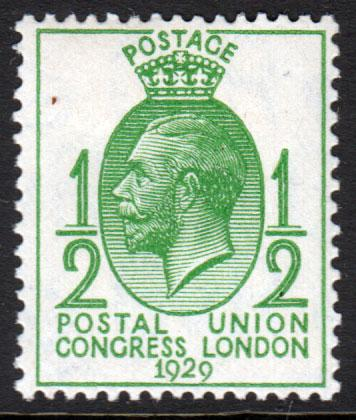 GB KGV 1929 UPU 0.5d Green SG434 Mint Hinged