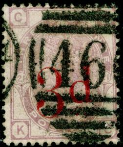 SG159, 3d on 3d lilac PLATE 21, USED. Cat £145. KC