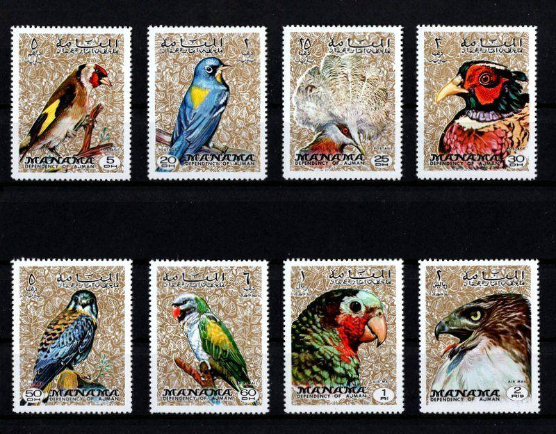 MANAMA - 1971 - BIRDS - PARROT - FALCON ++ PERF - 8 X MINT - MNH SET!