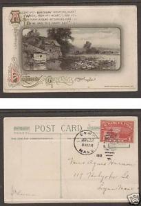 US Sc Q1 on 1913 Embossed Birthday PPC