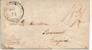 Georgia Stampless Cover Milledgeville Nov 11 Double Circle - No Contents Scarce