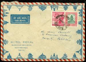EDW1949SELL : NEPAL Nice usage on Air Mail Letter to USA.