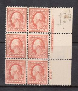 USA #379 Mint Plate Block Of Six