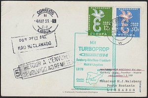 GERMANY 1959 first flight postcard to Portugal - Unclaimed marks etc........H323