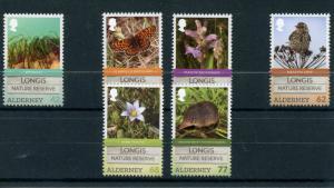Alderney 2016 MNH Longis Nature Reserve 6v Set Birds Flowers Butterflies Stamps