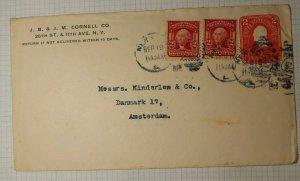 US Sc# C395 319 Used Entire 1906 Amsterdam Denmark Back Receiving Postmark